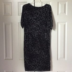 LOFT Animal Print Midi Lightweight Sweater Dress